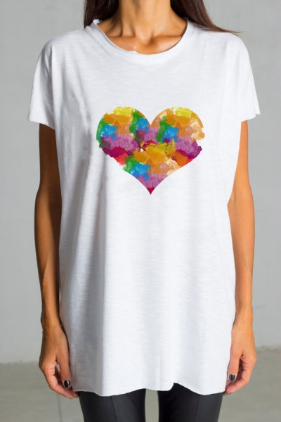 Cute Multicolored Heart Print White Tee  AA224000187