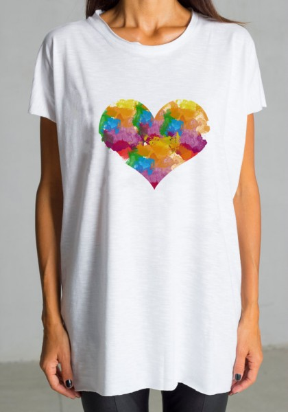 Cute Multicolored Heart Print White Tee  A224000187