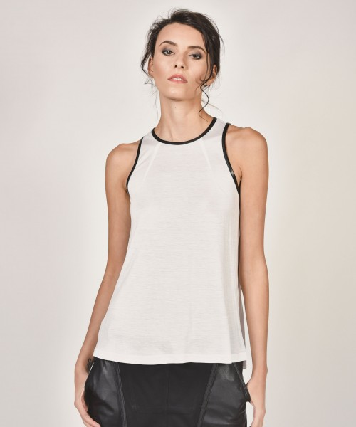 Sexy Eco Leather Neckline Tank Top A04410