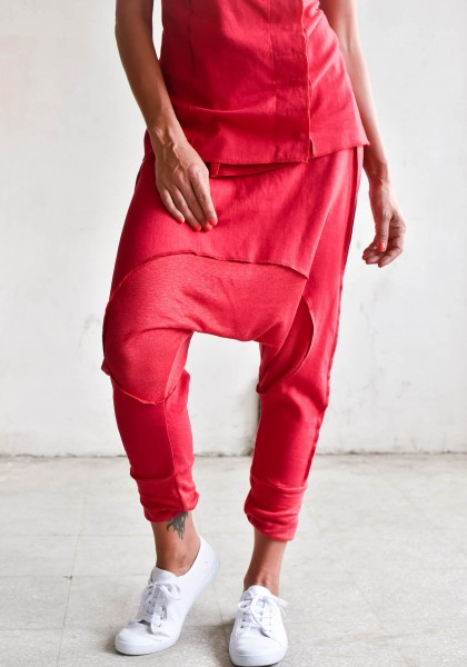 Drop Crotch Linen Knit Harem Pants A05167
