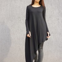 Tops - Oversize Black Loose Asymmetrical Sexy Top A02574