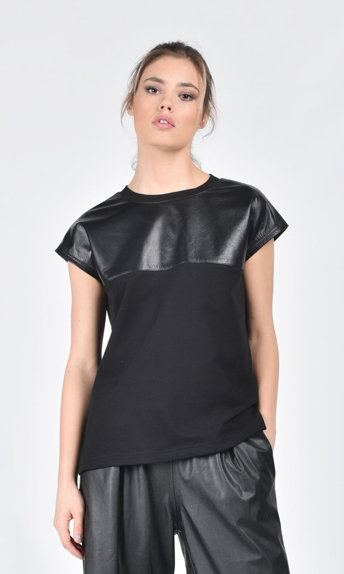 Black T-shirt with A Front Leather Piece A12009