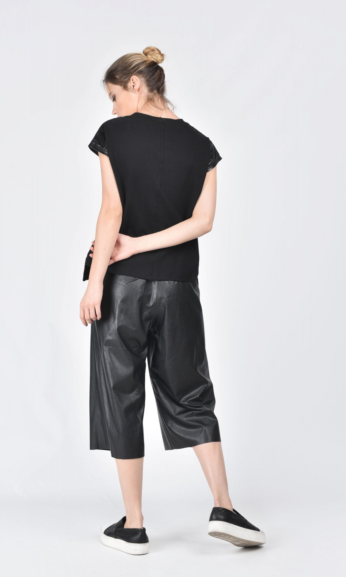 Black T-shirt with Genuine Leather