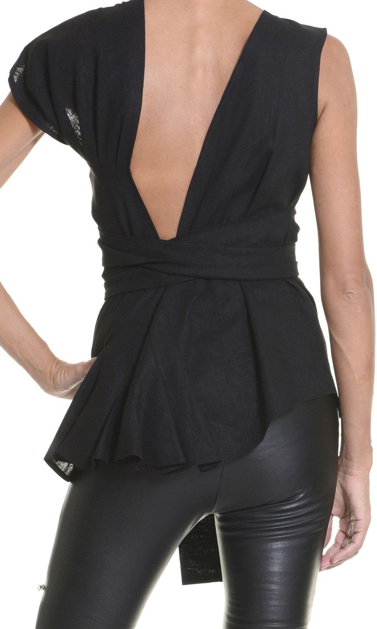 Black Linen Top A12120