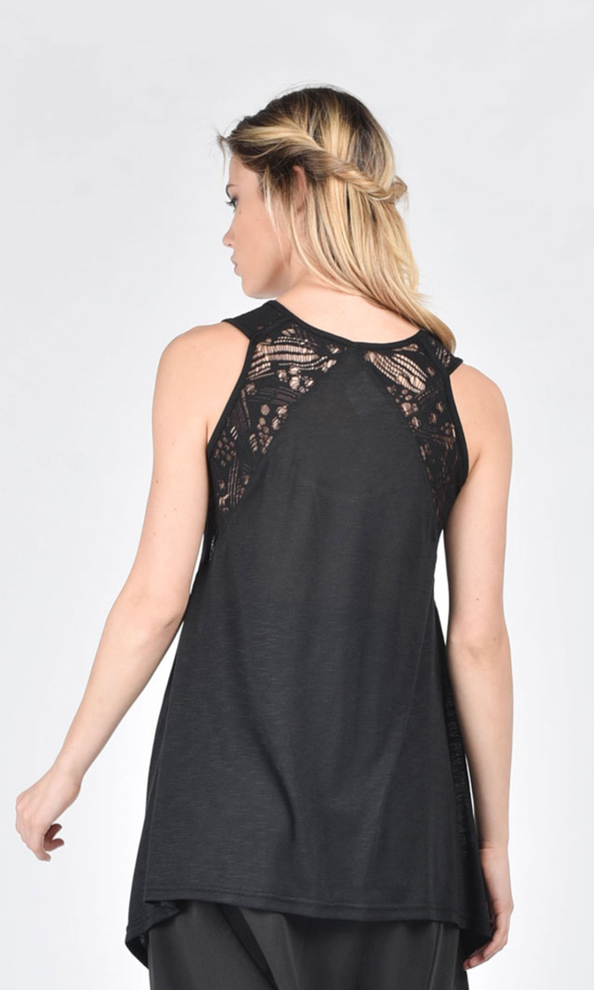 Flared cotton top with lace A04745