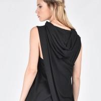 Sleeveless Back Slits Hooded Top A20691