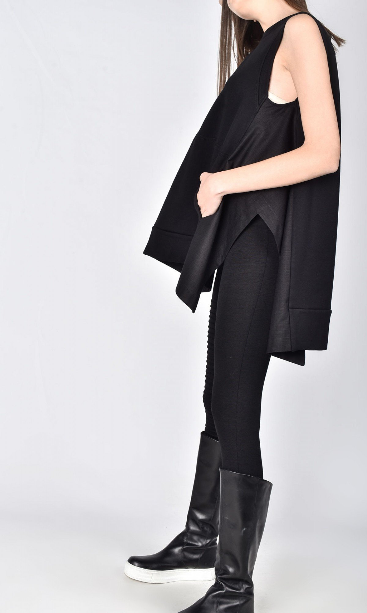 Oversized Sleevless Front Pocket Top A02759