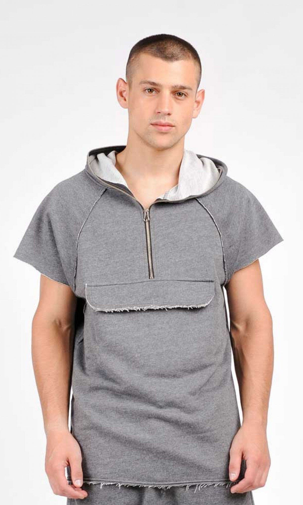 Sleeveless Front Pocket Hooded Top A90334