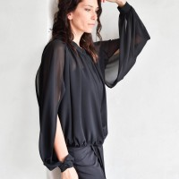 Elegant Open Sleeves Chiffon Shirt A90349