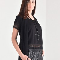 Elegant Short Sleeve Top with lace details A90459