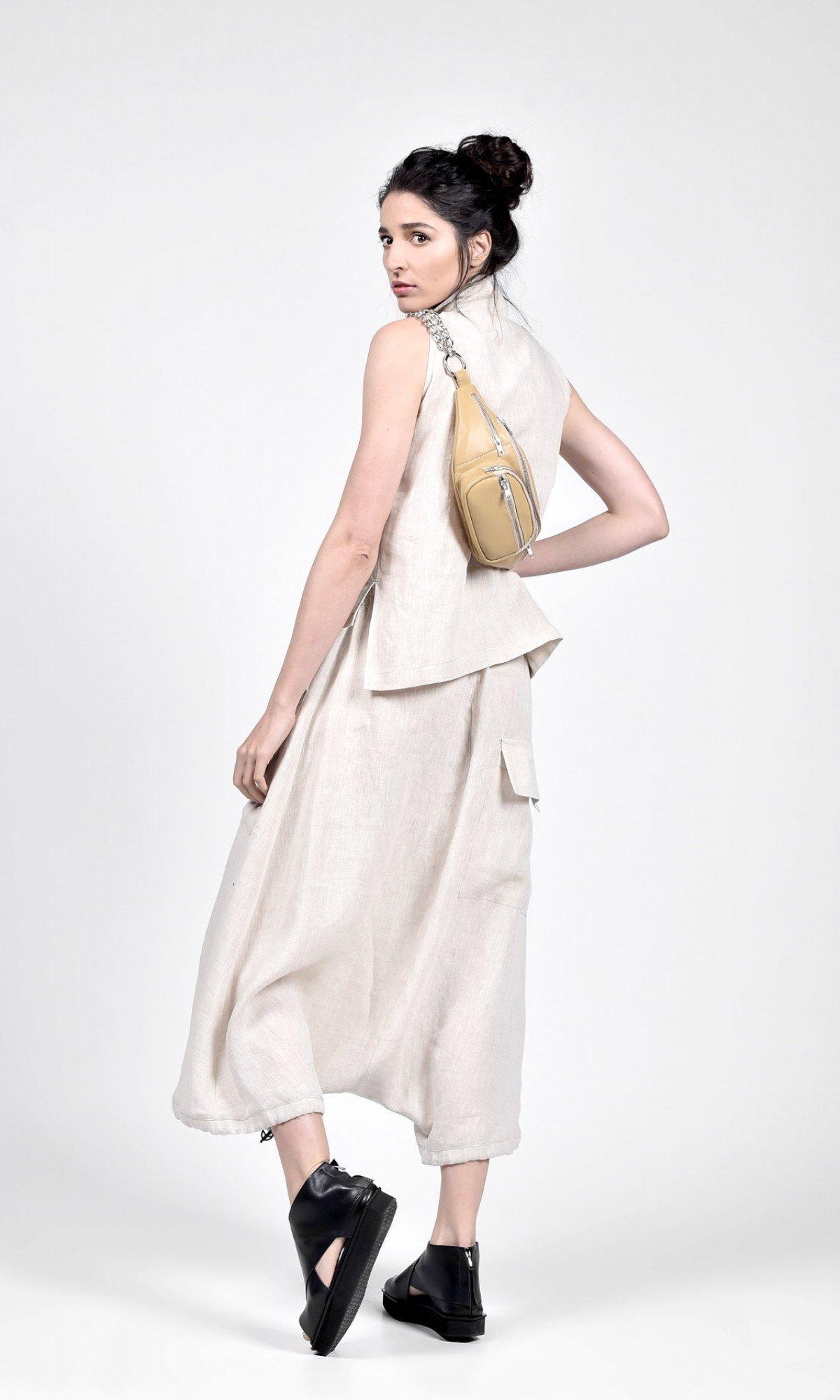 Elegant mid length harem linen pants A90467
