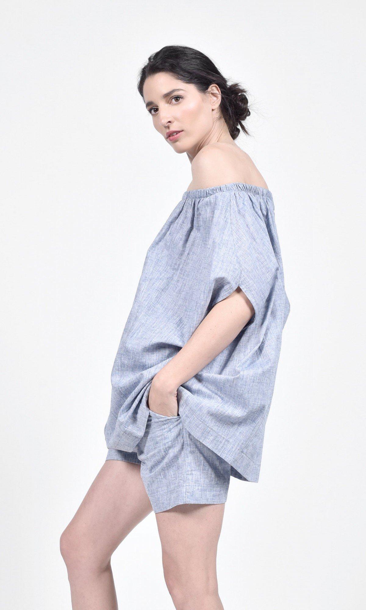 Melange Linen Drop Crotch Shorts