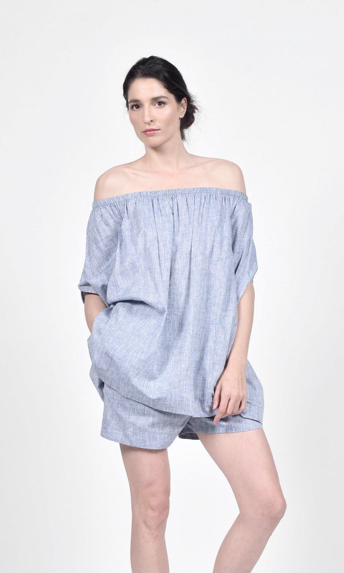 Melange Linen Blouse & Shorts Set