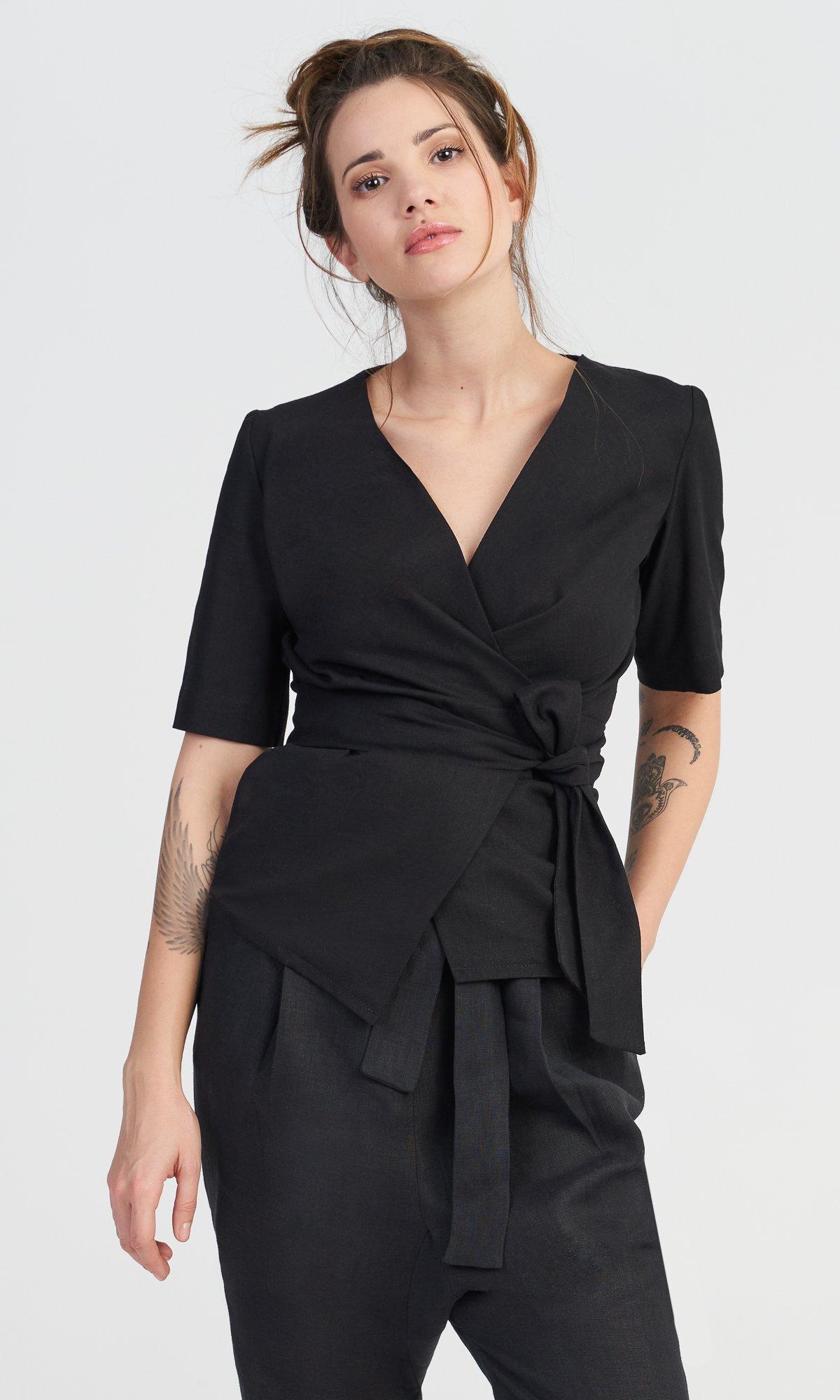 Short Sleeves Linen Top with Belt