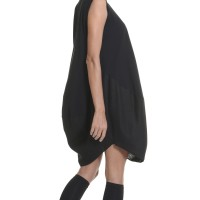 Oversize Black Loose Linen Cotton Tunic A02132