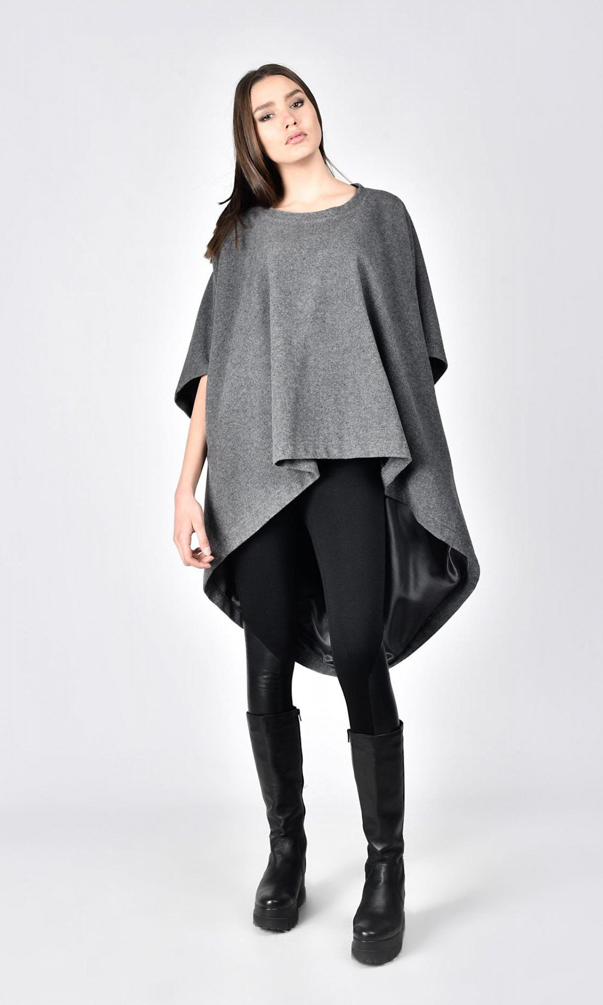 Winter Cashmere and Wool Poncho A01160
