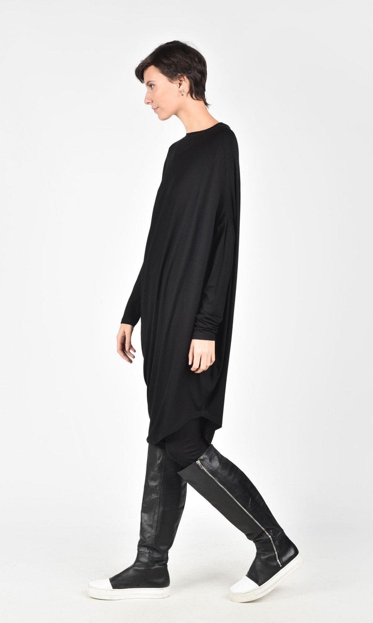 Oversize Black  Raglan Long Sleeves Tunic A02044