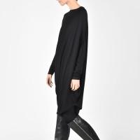 Oversize Black  Raglan Long Sleeves Tunic A02044