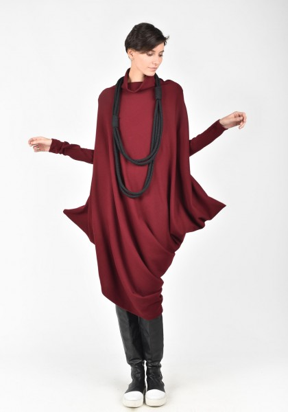 Asymmetric Raglan Knit Tunic Dress A02058