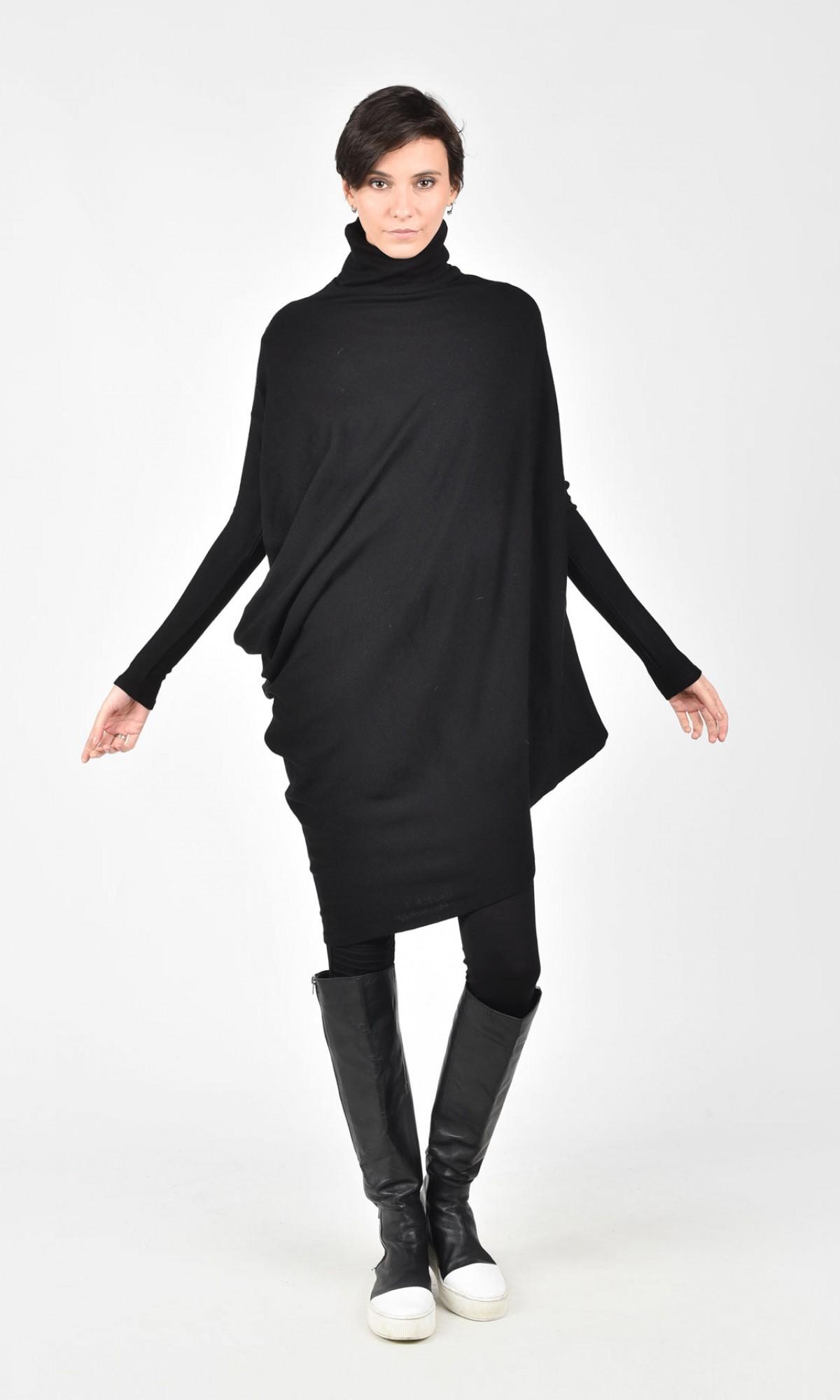 Asymmetric Raglan Knit Tunic Dress A02058