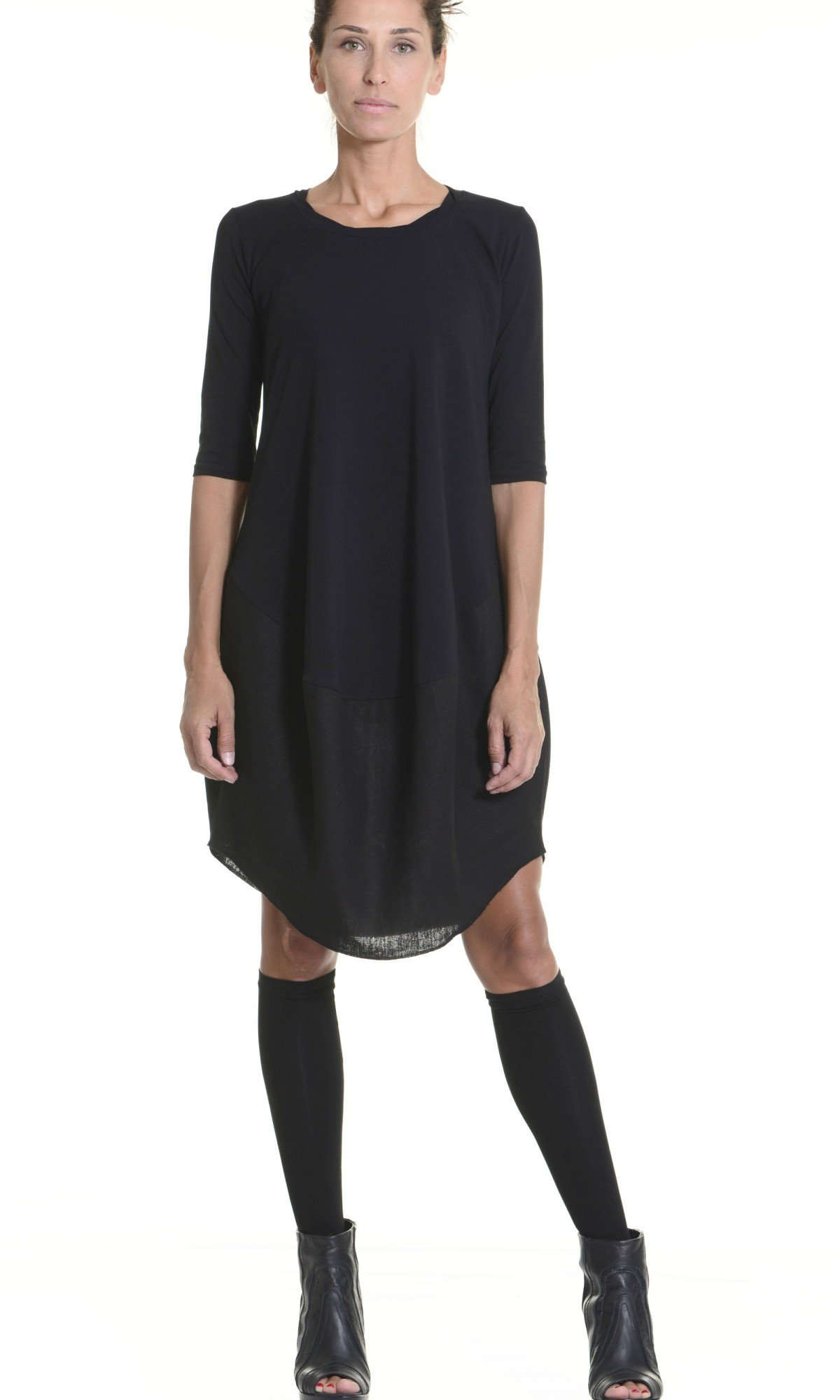 Oversize Black Loose Casual Tunic A02152