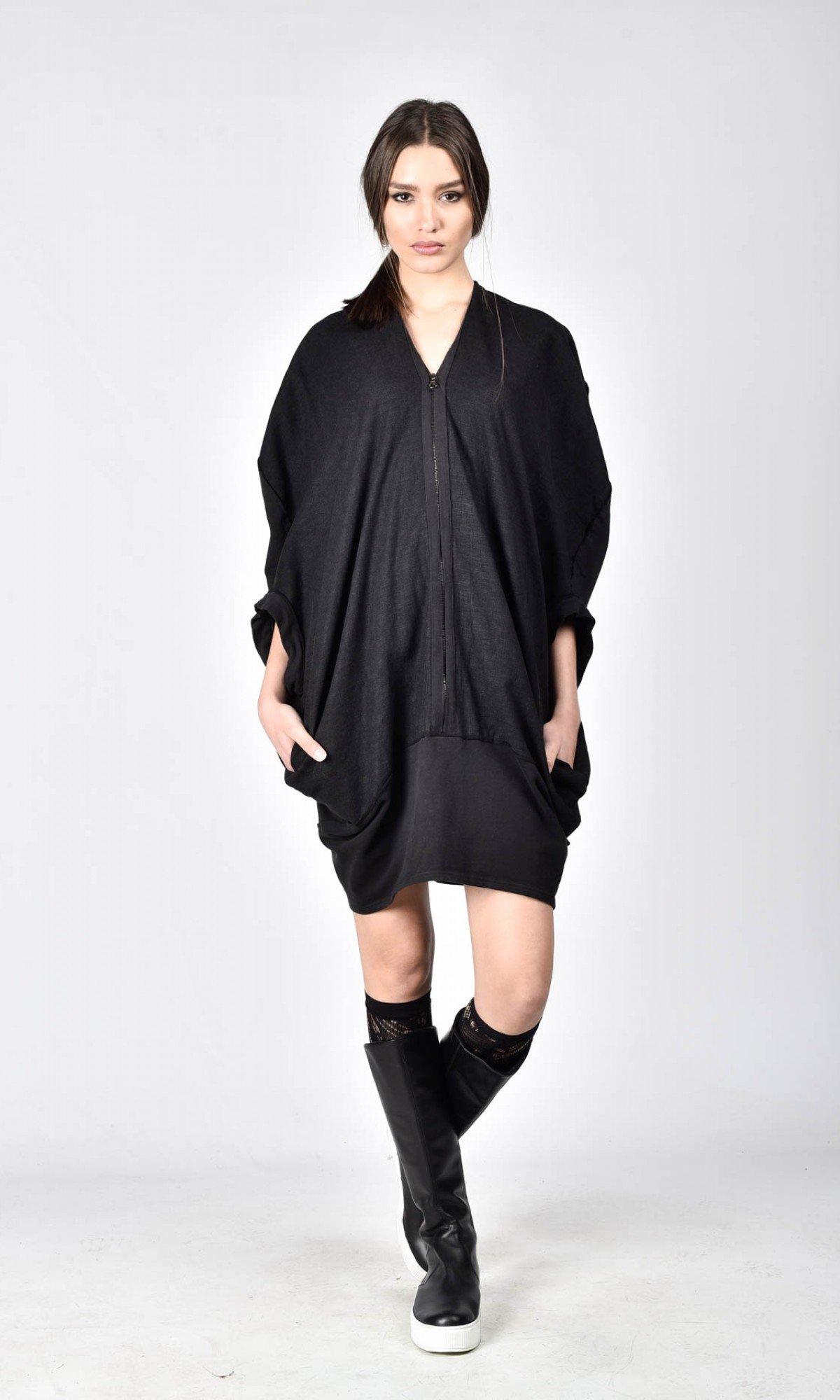 Linen-Cotton Zipper Top A02173
