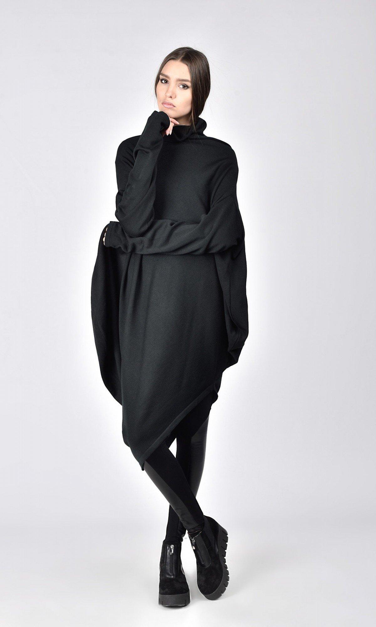 Asymmetric Turtle Neck Knit Tunic A02201