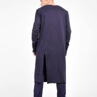 Black Sweatshirt Extravagant Asymmetric Maxi Tunic A02235M
