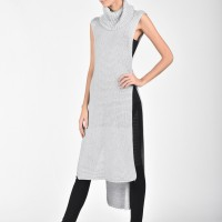 High Collar Knit Dress with side slits A02420