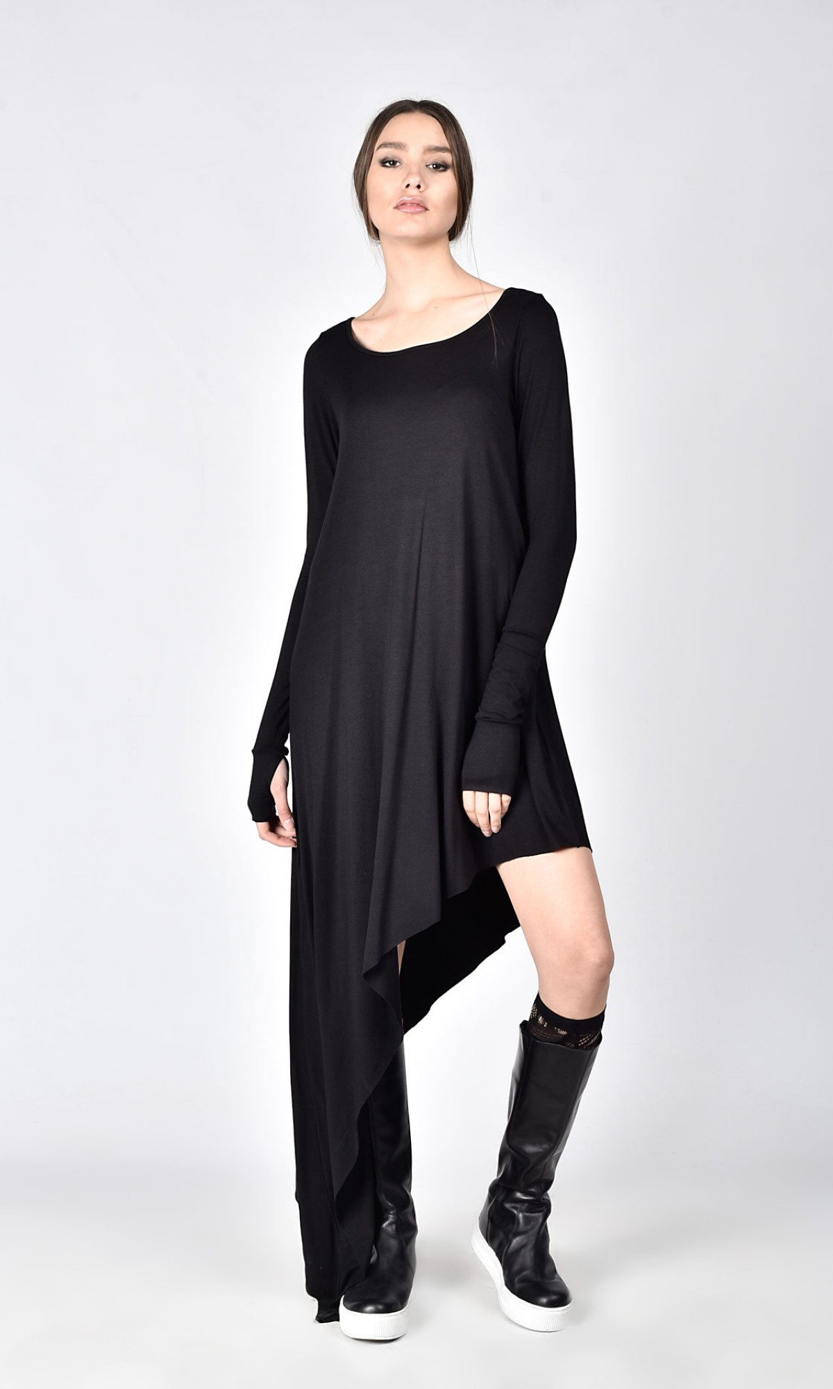 Oversize Black Loose Asymmetrical Sexy Top A02574
