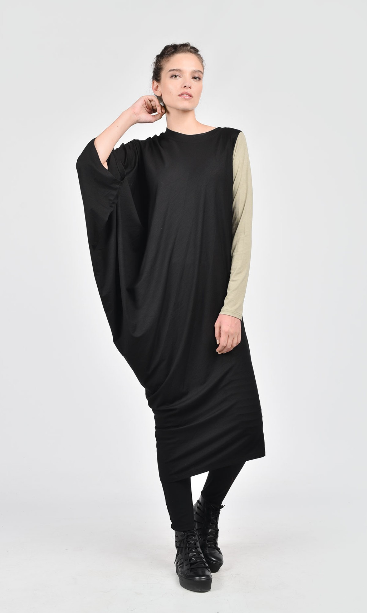 Asymmetric Black Off-Shoulder Dress A03052