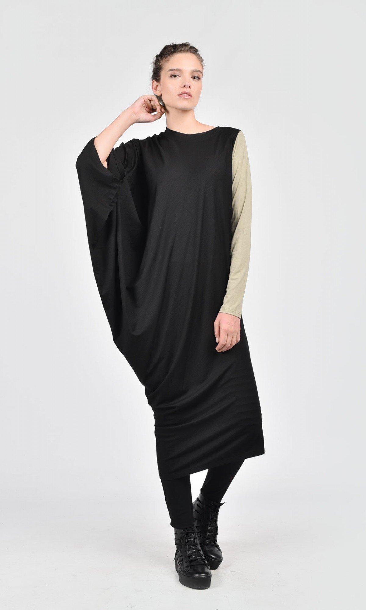 Asymmetric Black Off-Shoulder Dress A03052