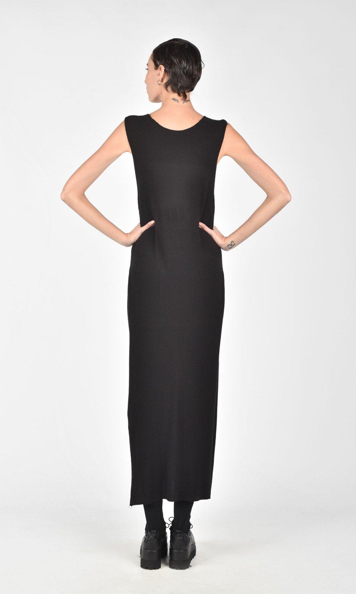 Black Deep V Neck Knit Dress A03512