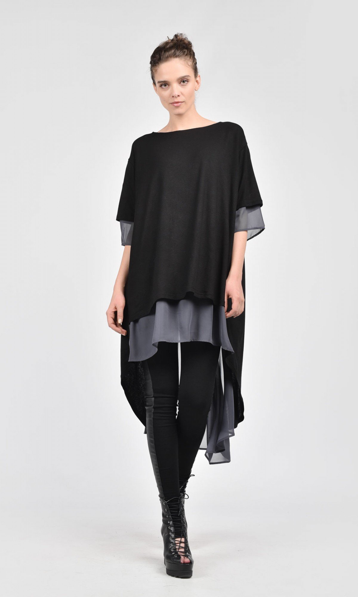 Extravagant Loose Shirt with Chiffon Piece A12117