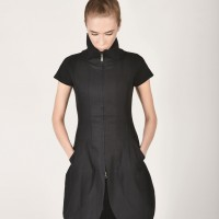 Sexy Black Linen Tunic Dress A03618
