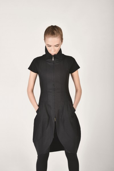 Sexy Black Linen Tunic Dress A90051