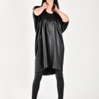 Short Sleeve Eco Leather Tunic dress A03767