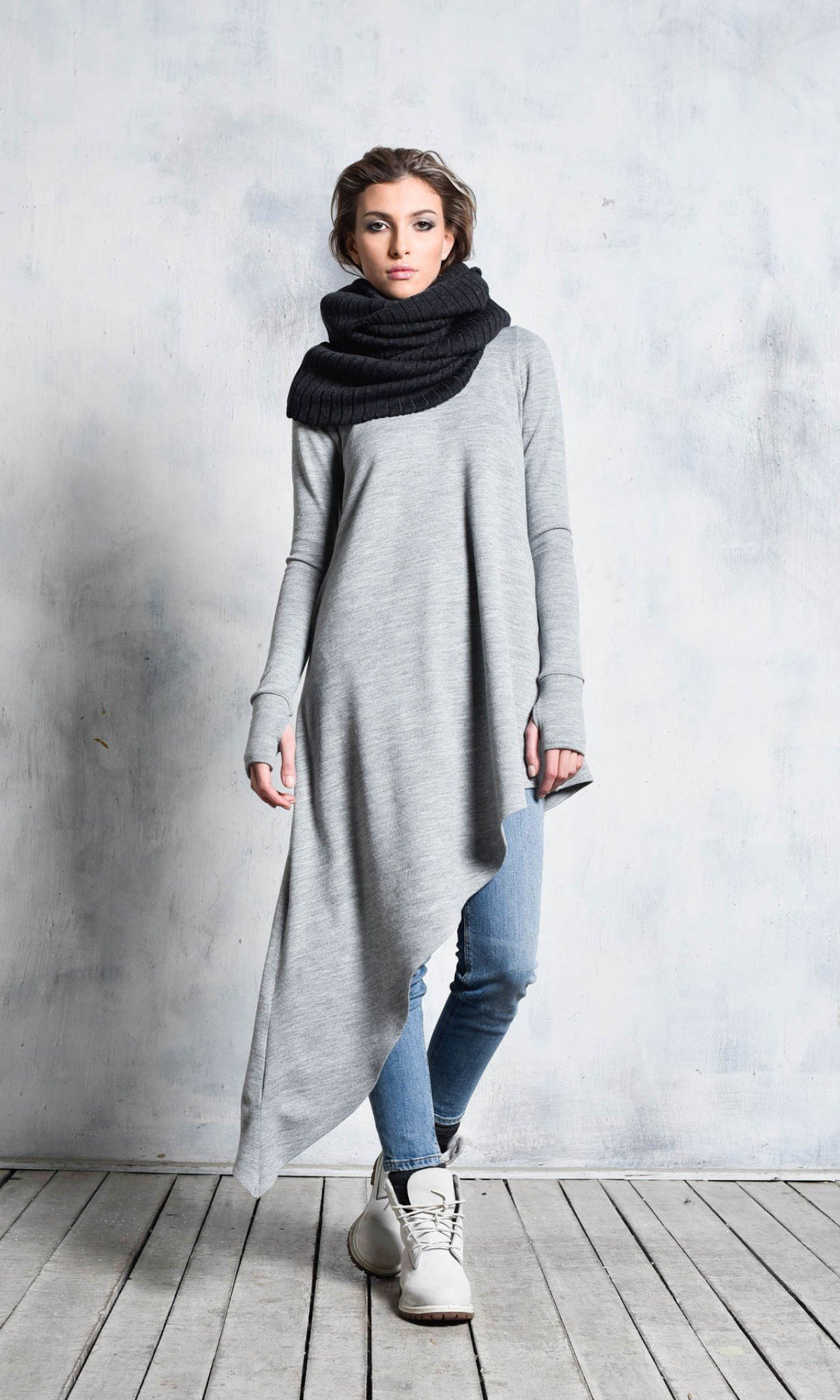 Loose  Knitted Tunic with Long Sleeves