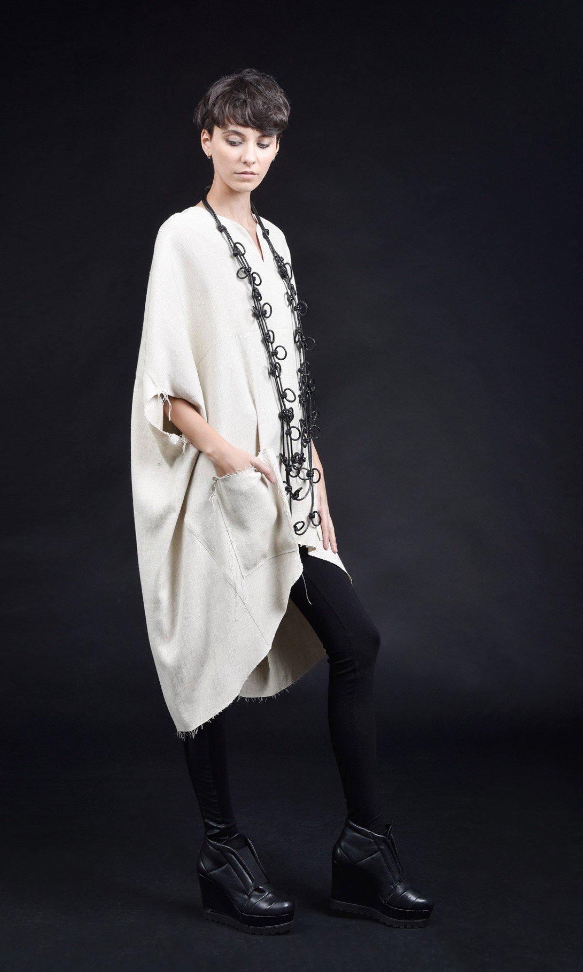 Long  midi sleeves linen tunic A02894