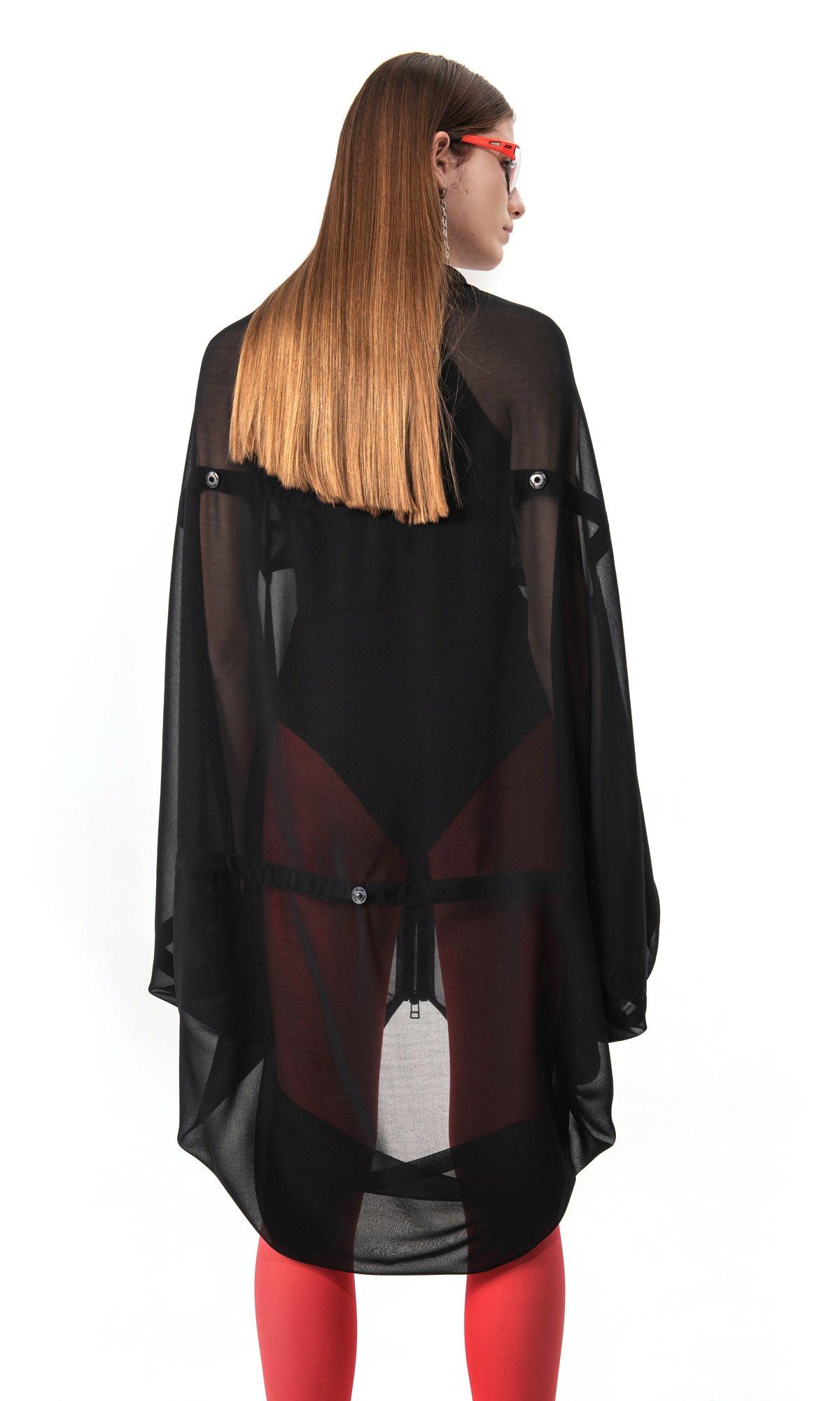 Adjustable Sheer Zipper Blouse