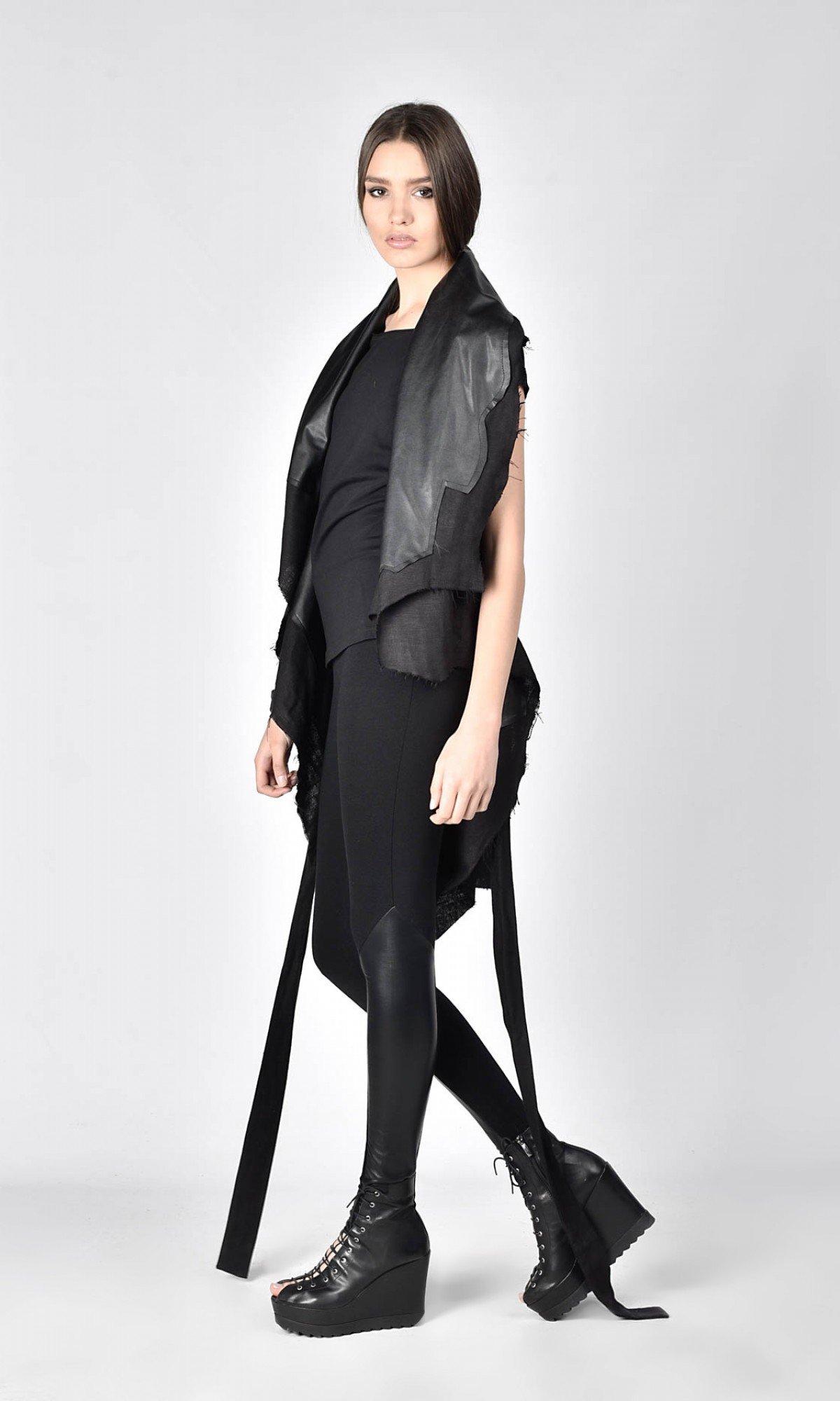Loose Black Linen Faux Leather Vest A02129