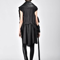 Loose Black Linen and Faux Leather Vest A02129
