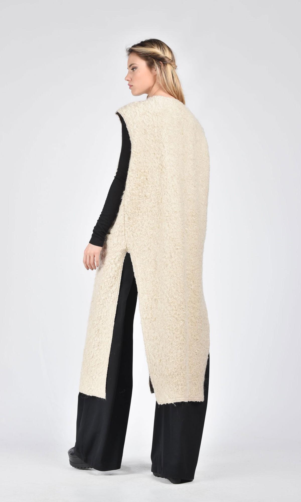 Winter Ivory Wool Sleeveless Vest