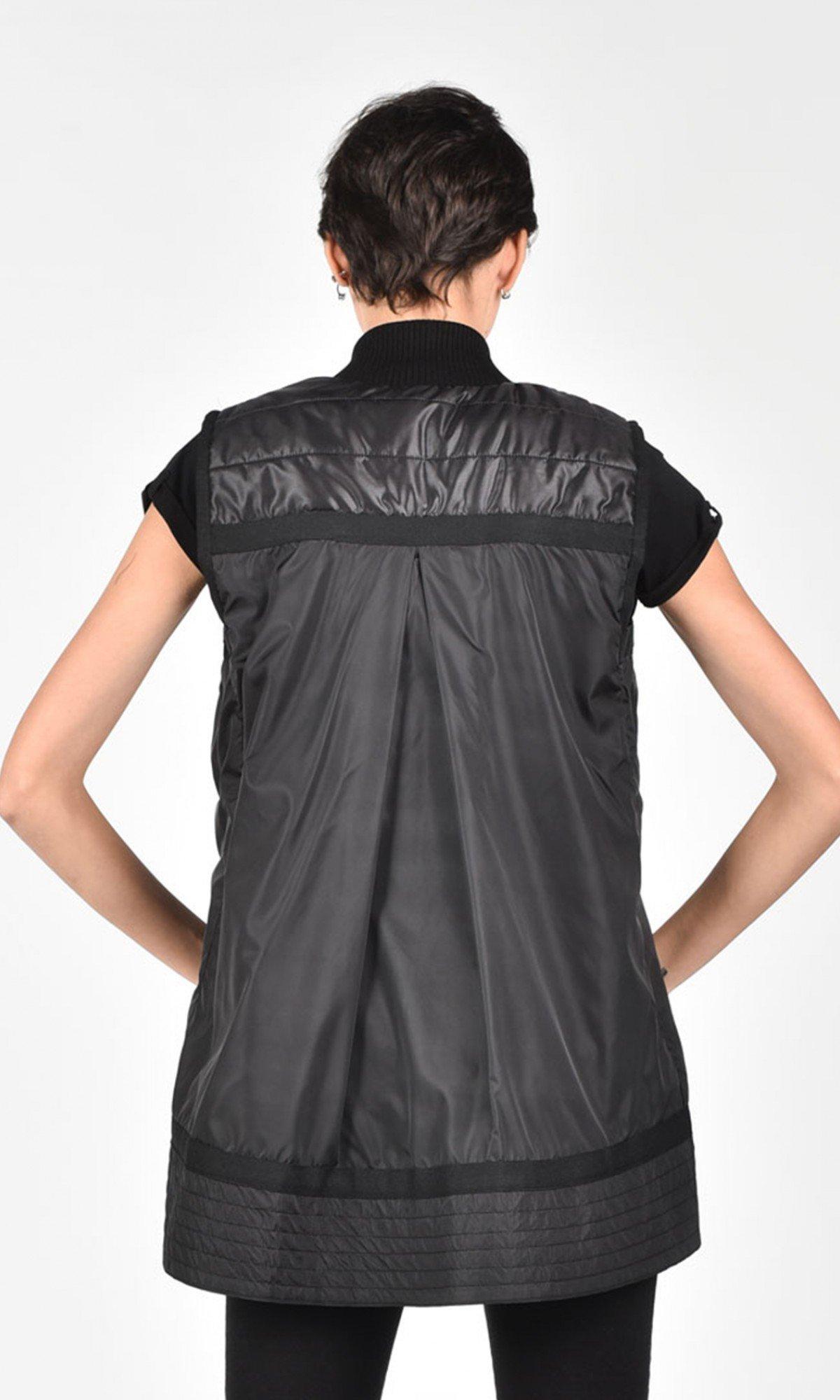 Elegant Full Zip Black Vest A02600
