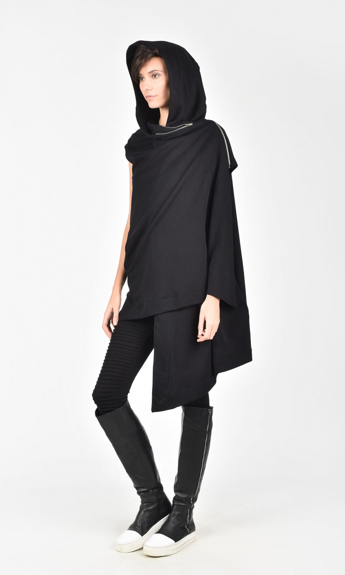 Asymmetric Black Hooded Cardigan A06089