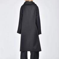Dark Grey Kasha Coat with  Long Sleeves A07099
