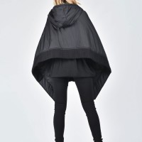 Asymmetric Quilted Poncho Hoodie A07521