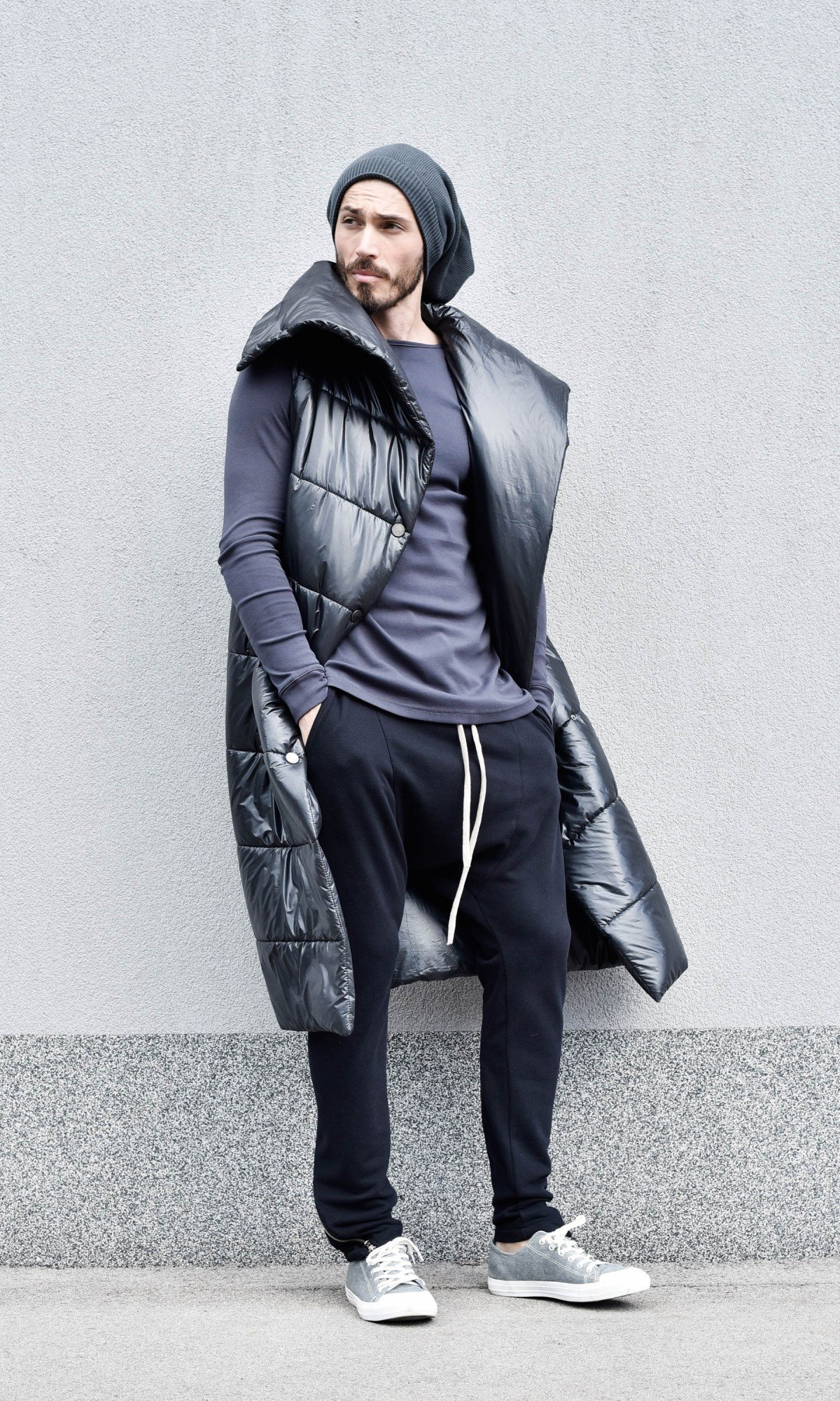 Quilted Asymmetric Long Jacket A20675M