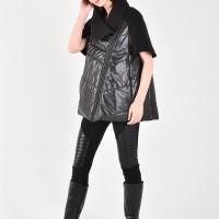Short High Collar Asymmetric Zipper Vest A20211