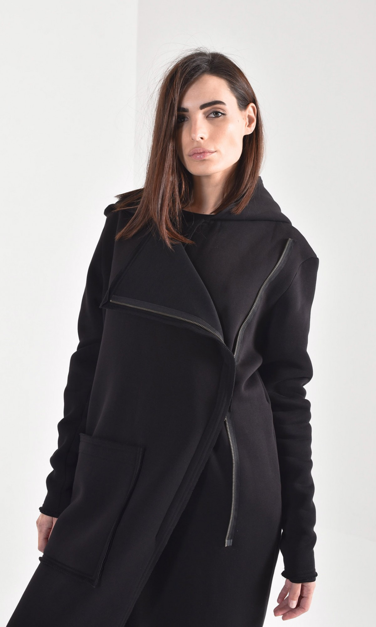 Black Hooded Lined Soft Cotton Coat A07236